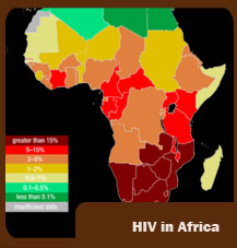 HIV map in Africa