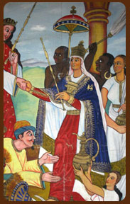 This photo shows the Ethiopian Queen of Sheba meeting King Solomon. We can see how the African-Ethiopians contrast themselves ethnically against other African people.
