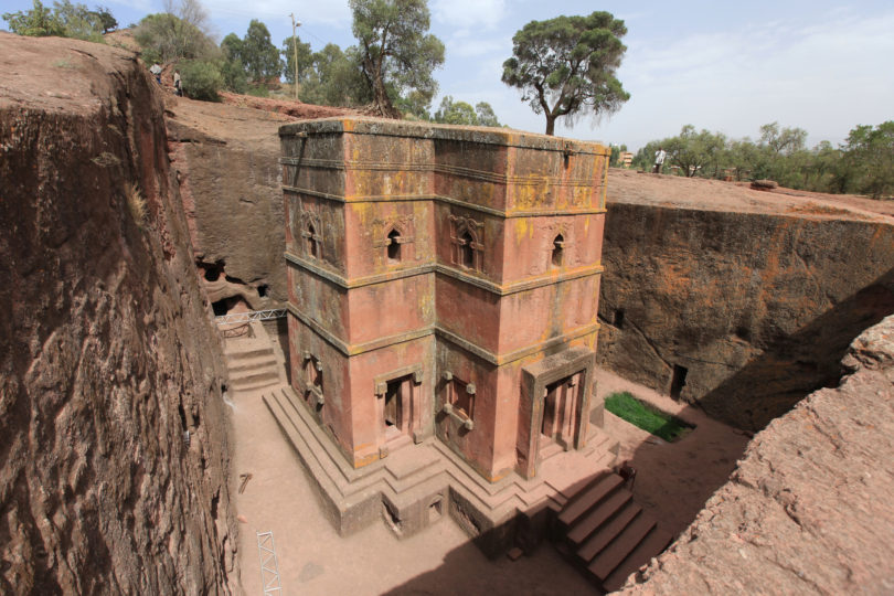 Church in Ethiopia carved from rock.
