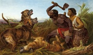 African Defending his Woman