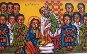 Ethiopian image of Jesus washing feet